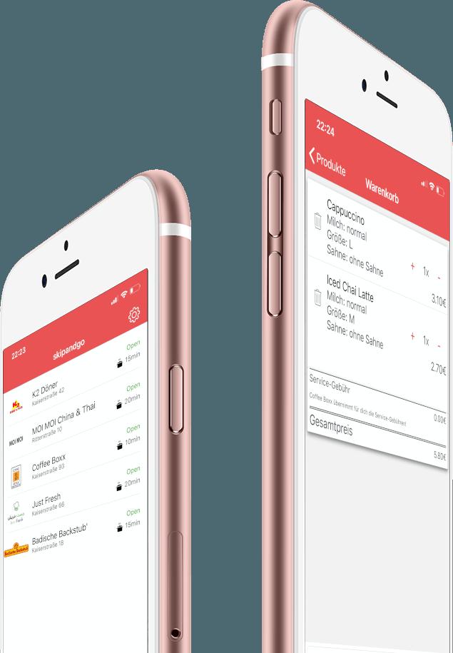 Betriebe und Warenkorb Screenshot der skipandgo Bestell App